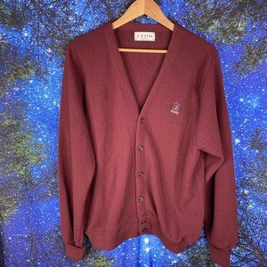 Vintage IZOD crest Burgundy cardigan men's medium